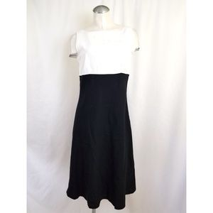 Ann Taylor Size 12 Black Off White Dress Linen